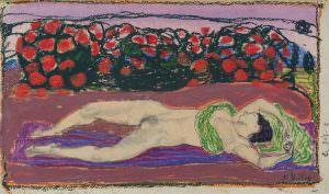 Ferdinand Hodler, Die Begierde, um 1906, Bleistift, Ölkreide, Gouache auf Papier, 23 × 38,7 cm (Leopold Privatsammlung)