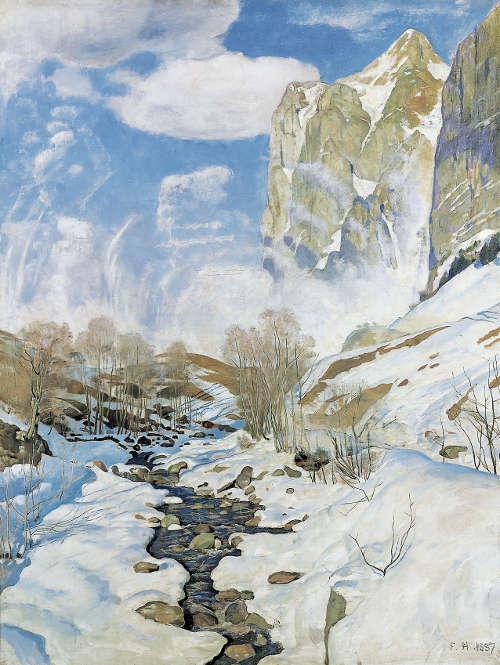 Ferdinand Hodler, Die Lawine, 1887 (© Kunstmuseum Solothurn, Depositum der Schweizerischen Eidgenossenschaft, Bundesamt für Kultur,Bern, 1903, Foto: Kunstmuseum Solothurn)