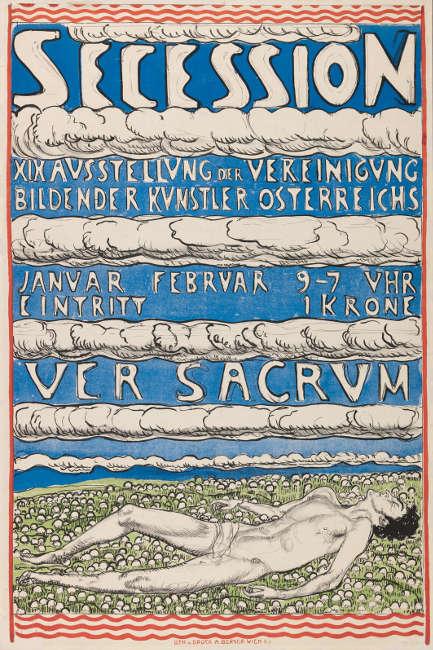 """Ferdinand Hodler, Plakat """"Secession – XIX Ausstellung der Vereinigung – Bildender Künstler Österreichs - Ver Sacrum"""", 1904, Lithografie, 96 x 64 cm (Museum für Gestaltung, Zürich/Plakatsammlung ZHdK)"""