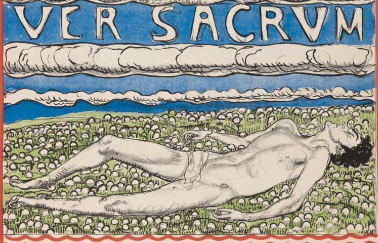 """Ferdinand Hodler, Plakat """"Secession – XIX Ausstellung der Vereinigung – Bildender Künstler Österreichs - Ver Sacrum"""", Detail, 1904, Lithografie, 96 x 64 cm (Museum für Gestaltung, Zürich/Plakatsammlung ZHdK)"""