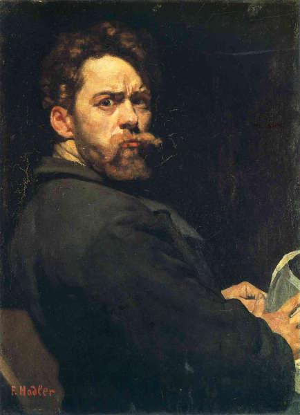 Ferdinand Hodler, Selbstbildnis (Pariser Selbstbildnis / Der Zornige), 1891, Öl auf Holz, 29 x 23 cm (Musée d'art et d'histoire, Genf, Depositum der Gottfried Keller-Stiftung)