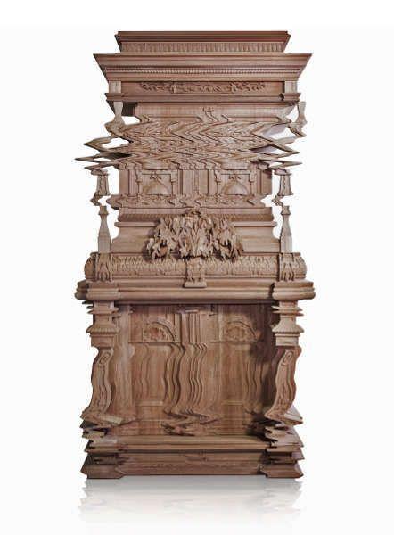 Ferruccio Laviani für Fratelli Boffi, Good Vibrations Cabinet, 2013, 215 x 116 x 52 cm, Walnuss-Holz (© Fratelli Boffi)