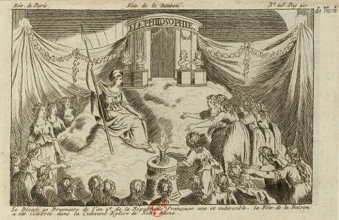 Fest der Vernunft, 1793, Stich, 9,5 x 15 cm (Bibliothèque nationale de France)