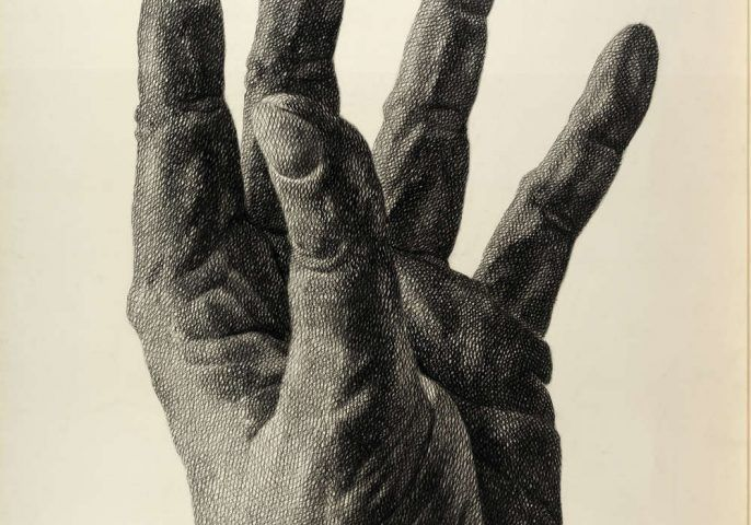 Florentina Pakosta, Aufstrebende Hand, Detail, 1980 (Albertina, Wien © Bildrecht, Wien, 2017)
