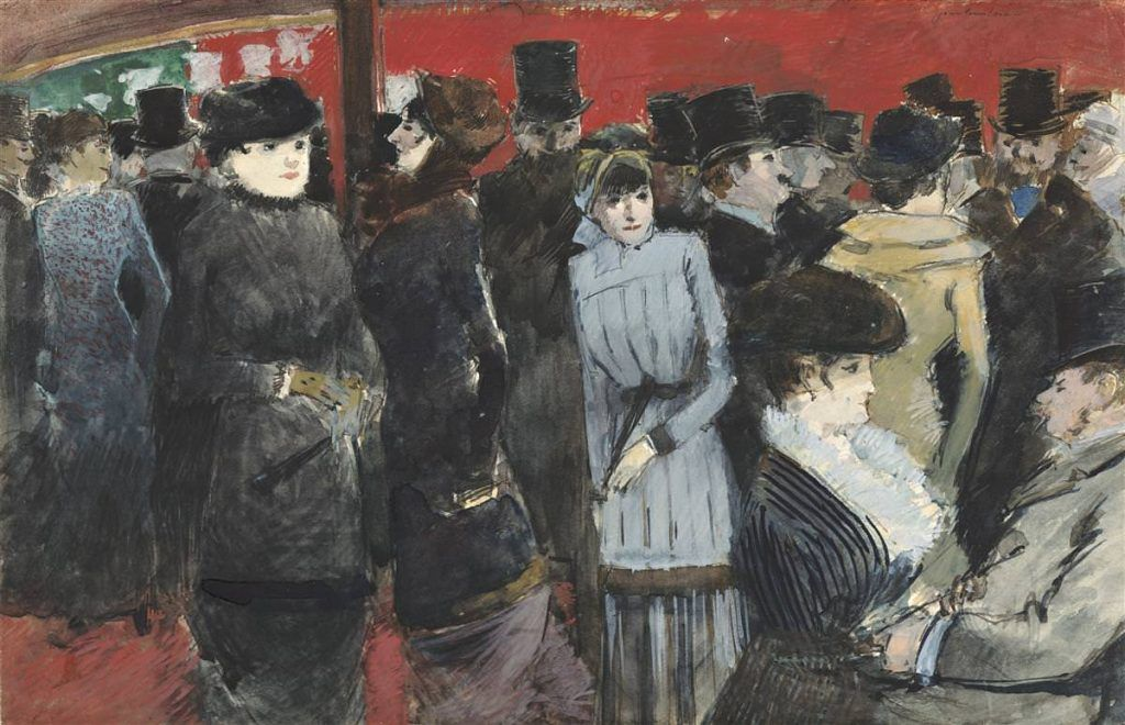 Jean-Louis Forain, Gruppe im Folies-Bergère, um 1878, Aquarell und Gouache auf Papier, 22.7 x 32.86 cm (Wadsworth Athenaeum, Hartford, Bequest of George A. Gay, Inv.-Nr. 1941.170)