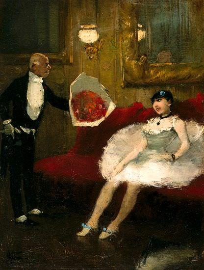 Jean-Louis Forain, Loge d'actrice (Loge der Schauspielerin, Der Bewunderer)], um 1877–1879, Öl auf Leinwand, 20.3 × 15.2 cm (The Museum of Fine Arts, Houston, Gift of Audrey Jones Beck)