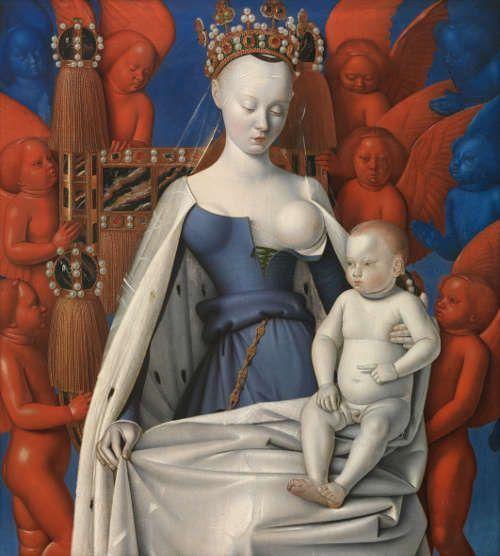 Jean Fouquet, Diptychon des Etienne Chevalier [Diptychon von Melun], um 1455, rechter Flügel: Madonna umgeben von Engeln, Eichenholz, 95 x 85,5 cm (© Antwerpen, Koninklijk Museum voor Schone Kunsten)