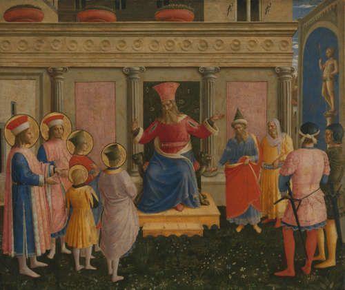Fra Angelico, Anhörung der hll. Cosmas und Damian und ihrer Brüder vor Prokonsul Lysias, um 1438/40, Pappelholz, 36,2 × 46,5 cm (AP, München)