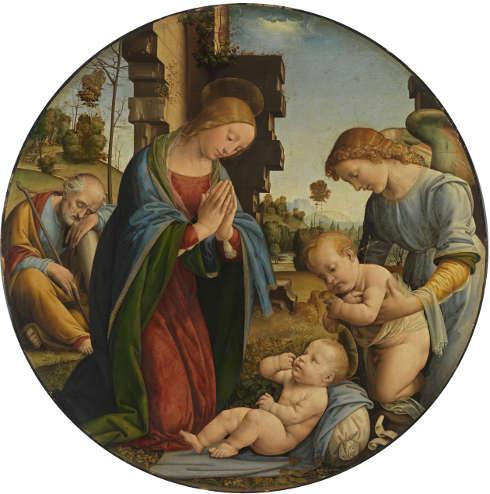 Fra Bartolommeo, Anbetung des Kindes, um 1495, Pappelholz, Dm. 99,1–98,6 cm, Dicke 2,5 cm (gesamt), Dm. 97,7–97,2 cm (Malfläche) (Alte Pinakothek, München)