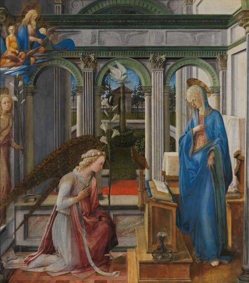 Fra Filippo Lippi, Verkündigung Mariae, um 1443-45, Pappelholz, 205,8 × 187,9 × 2,1 (gesamt), 202,9 × 185,4 cm (Malfläche) (Alte Pinakothek, München)