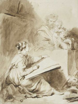 Jean-Honoré Fragonard, Marguerite Gérard (?), zeichnend, 1770er Jahre (Albertina, Wien)