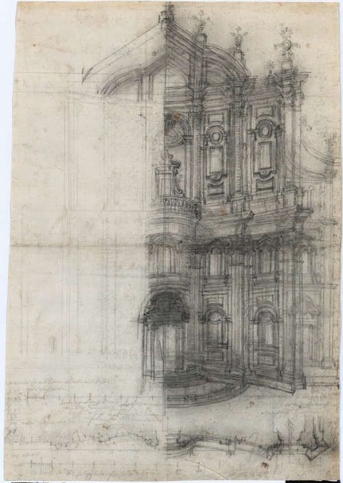 Francesco Borromini, Rom, Oratorio dei Filippini, Fassade, revidierte Version für Publikation des Opus Architectonicum, 1660 (Albertina, Wien)