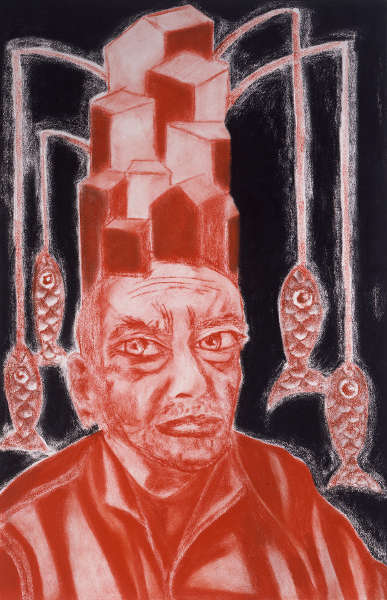 Francesco Clemente, Self-Portrait in White, Red and Black I, 2008, Pastel on paper (ALBERTINA, Wien - The JABLONKA Collection)