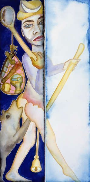 Francesco Clemente, The Fool (Self-Portrait), 2008–2011, Watercolor and gouache on paper (Clemente Studio, New York)