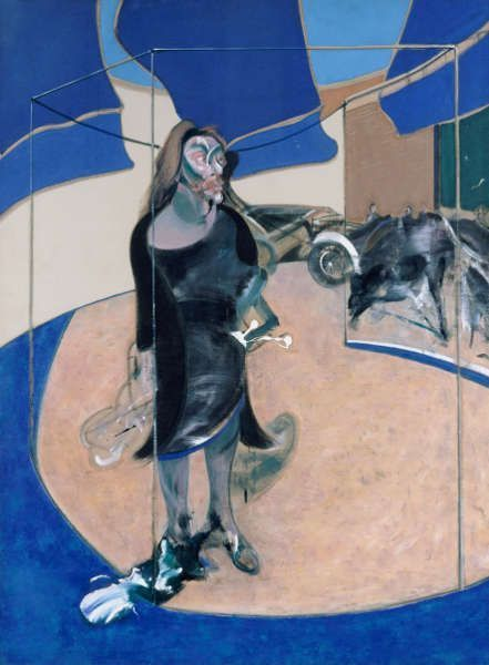 Francis Bacon, Portrait of Isabel Rawsthorne Standing in a Street in Soho, 1967, Öl/Lw, 198 x 147 cm (Staatliche Museen zu Berlin, Nationalgalerie. 1967 erworben durch das Land Berlin © The Estate of Francis Bacon. All rights reserved / 2018, ProLitteris, Zurich, Photo: © bpk / Nationalgalerie, Staatliche Museen zu Berlin / Jörg P. Anders)