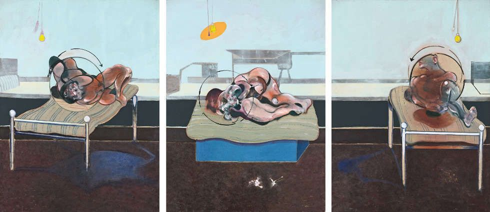 Francis Bacon, Three Studies of Figures on Beds, 1972, Öl, Pastell, Lw, Triptychon je 198 x 147.5 cm (Esther Grether Familiensammlung © The Estate of Francis Bacon. All rights reserved / 2018, ProLitteris, Zurich, Photo: Robert Bayer)