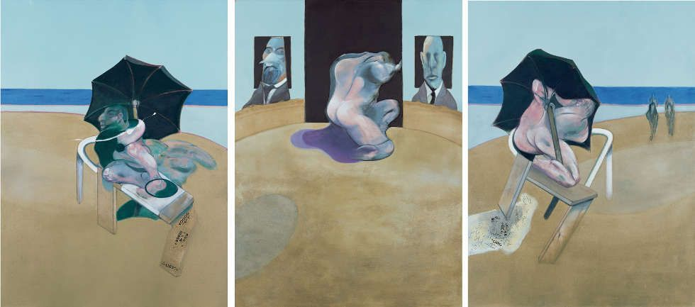 Francis Bacon, Triptychon, 1974–1977, Öl, Pastell und trocken übertragener Schriftzug auf Leinwand, 198 x 147,5 cm (The Lewis Collection © The Estate of Francis Bacon. All rights reserved. DACS, London, Foto: Prudence Cuming Associates Ltd.)