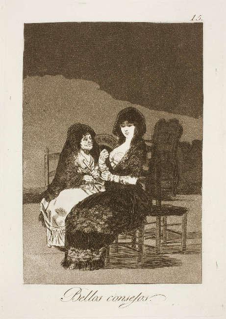 Francisco de Goya, Bellos consejos [Schöne Ratschläge], Blatt Nr. 15 aus dem Zyklus Los Caprichos, 1799, Radierung und Aquatinta (Kunsthalle Bremen – Der Kunstverein in Bremen, Kupferstichkabinett)
