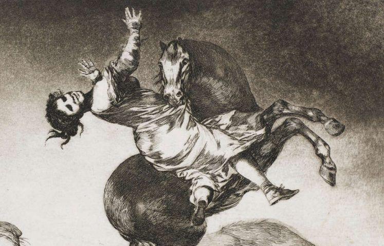 Francisco de Goya, Das Pferd als Frauenräuber, Detail, Blatt Nr. 10 aus dem Zyklus Los Proverbios, um 1815–1824 (Kunsthalle Bremen – Der Kunstverein in Bremen, Kupferstichkabinett)
