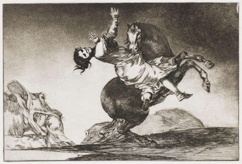 Francisco de Goya, Das Pferd als Frauenräuber, Blatt Nr. 10 aus dem Zyklus Los Proverbios, um 1815–1824 Blatt Nr. 10 aus dem Zyklus Los Proverbios (Kunsthalle Bremen – Der Kunstverein in Bremen, Kupferstichkabinett)