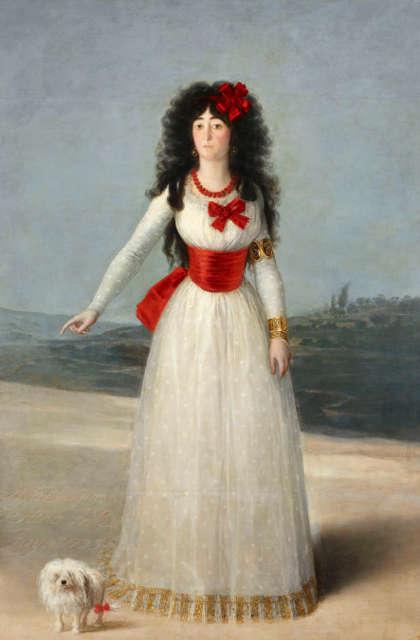 Francisco de Goya, Doña María del Pilar Teresa Cayetana de Silva Álvarez de Toledo, XIII duquesa de Alba, 1795. Öl auf Leinwand, 192 × 128 cm, Fundación Casa de Alba, Palacio de Liria, Madrid.