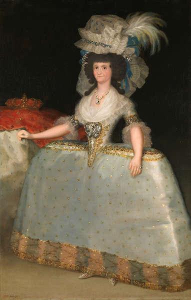 Francisco de Goya y Lucientes, Königin María mit Reifrock, Öl/Lw, 205 x 132 (Museo Nacional del Prado, Madrid)