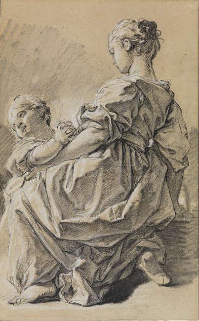François Boucher, Kniende junge Frau mit Kind, um 1750 (Staatliche Kunsthalle Karlsruhe)