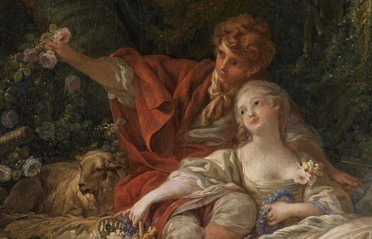 François Boucher, Schäfer und Schäferin, Detail, 1760 (Staatliche Kunsthalle Karlsruhe)