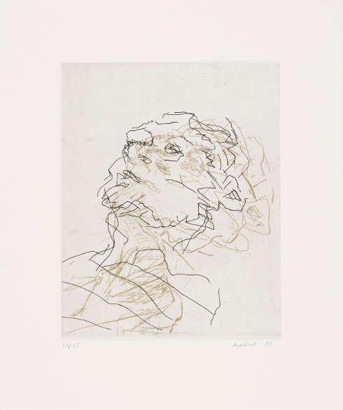 Frank Auerbach, Julia, 1998, Radierung und Aquatinta von zwei Platten in Schwarz über Gold, 25,8 × 20,3 cm (Platte) (Privatsammlung, Köln, Foto: Städel Museum © Frank Auerbach, courtesy Marlborough Fine Art)