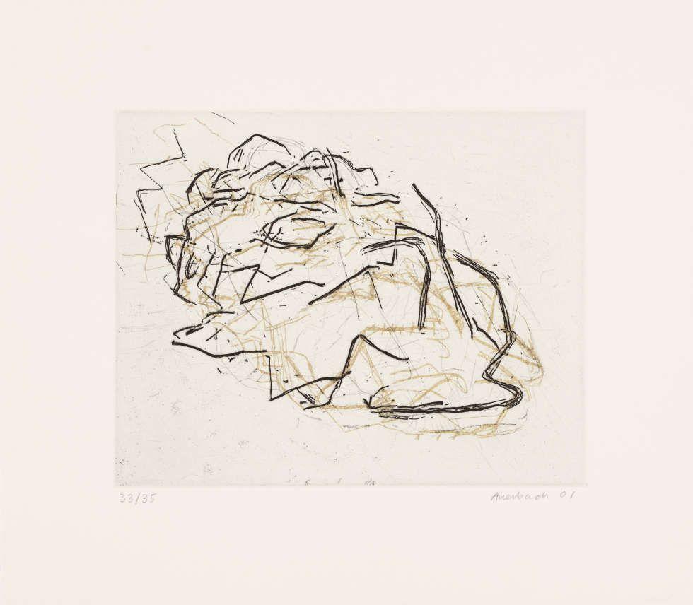 Frank Auerbach, Julia Asleep, 2001, Radierung und Aquatinta von zwei Platten in Schwarz über Gold, 20,3 × 25,2 cm (Platte) (Privatsammlung, Köln, © Frank Auerbach, courtesy Marlborough Fine Art)
