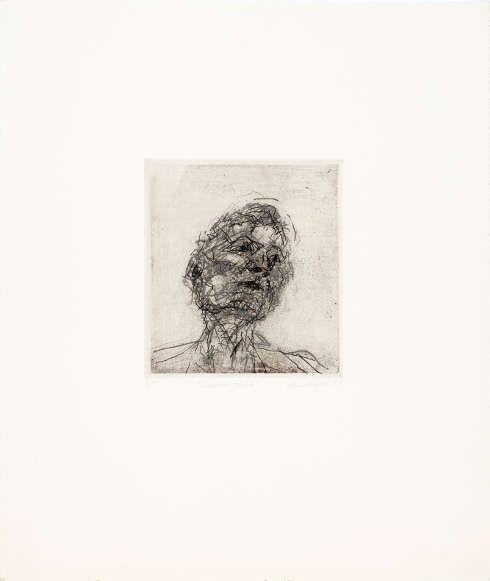 Frank Auerbach, Lucian Freud, 1981 (Blatt 4 der Folge Six Etchings of Heads), Radierung von 4 Platten in Schwarz über Grau über Schwarz, 15 × 13,5 cm (Platte) (Privatsammlung Köln, Foto: Städel Museum, © Frank Auerbach, courtesy Marlborough Fine Art)