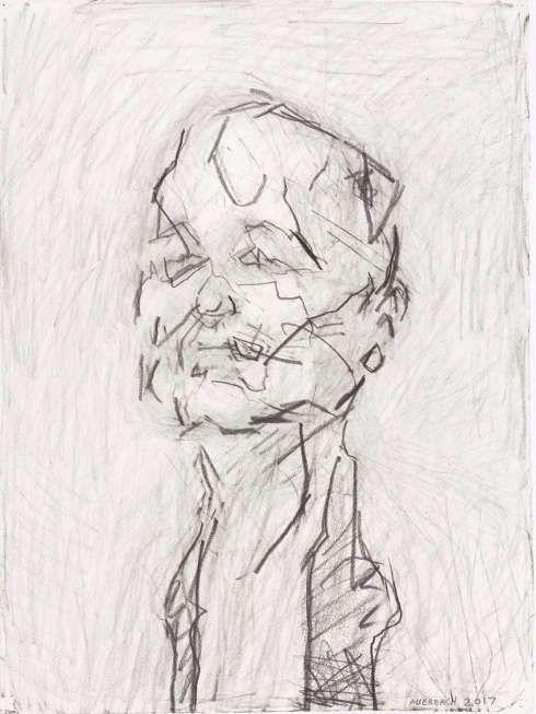 Frank Auerbach, Self-Portrait, 2017, Graphitzeichnung, 76,8 x 57,5 cm (Städel Museum, Frankfurt am Main. Erworben 2017 mit Mitteln der Jürgen R. und Eva-Maria Mann Stiftung; Eigentum des Städelschen Museums-Vereins e.V., Foto: Städel Museum – ARTOTHEK © Frank Auerbach, courtesy Marlborough Fine Art)