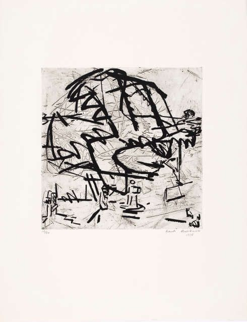 Frank Auerbach, Tree of Tretire I, 1975, Siebdruck über Radierung, 30 × 29,5 cm (Platte) (Privatsammlung, Köln, © Frank Auerbach, courtesy Marlborough Fine Art)