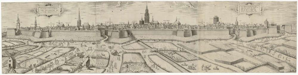 Frans Huys, Ansicht von Antwerpen, 1557, Radierung, 36 x 147,4 cm (Albertina, Wien, Inv. DG1962/1041)