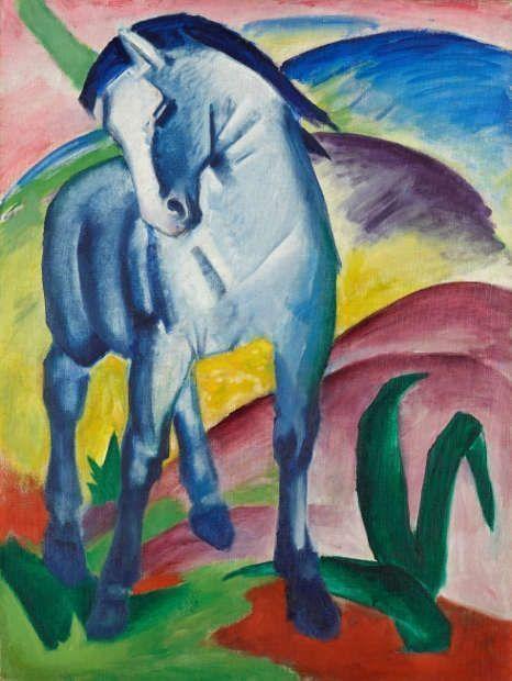 Franz Marc, Blaues Pferd I, 1911 (Städtische Galerie im Lenbachhaus und Kunstbau München, Bernhard und Elly Koehler Stiftung 1965, Schenkung aus dem Nachlaß Bernhard Koehler sen., Berlin, erworben von Franz Marc)