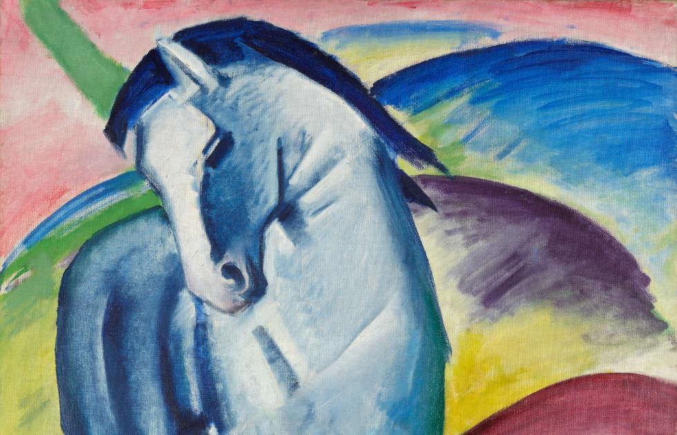 Franz Marc, Blaues Pferd I, Detail, 1911 (Städtische Galerie im Lenbachhaus und Kunstbau München, Bernhard und Elly Koehler Stiftung 1965, Schenkung aus dem Nachlaß Bernhard Koehler sen., Berlin, erworben von Franz Marc)
