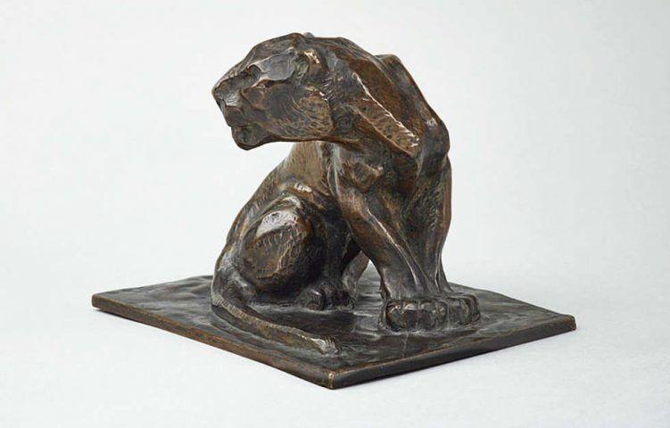 Franz Marc, Der Panther, 1908, Bronze (posthumer Guss, wohl 1928), 9,5 x 12,2 x 10,3 cm (mit Sockel) (Kulturstiftung Sachsen-Anhalt, Kunstmuseum Moritzburg Halle (Saale), Foto: Punctum/Bertram Kober)