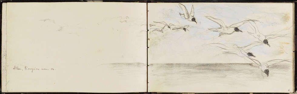 Franz Marc, Möwenschwarm über dem Meer, 1906, aus: Skizzenbuch III (Germanisches Nationalmuseum, Nürnberg)