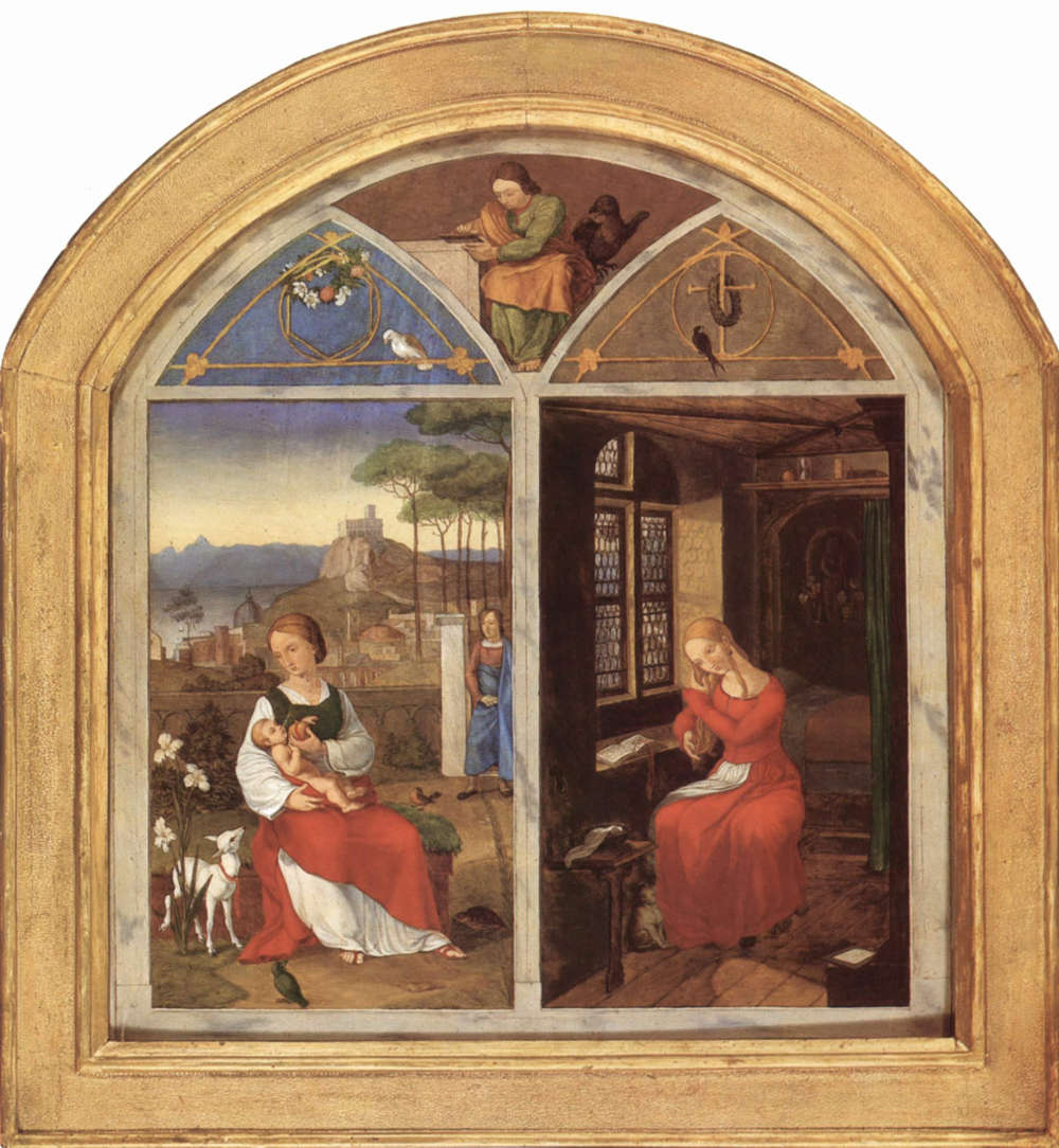 Franz Pforr, Sulamith und Maria, 1811, Öl/Holz, 34.5 × 32 cm (Sammlung Georg Schäfer, Schweinfurt, Inv.-Nr. MGS 1183)