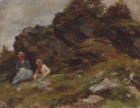 Franz von Defregger, Almlandschaft mit Frau und Kind, 1887, Öl auf Leinwand, 52 x 68,1 cm (Privatbesitz © Tiroler Landesmuseen)