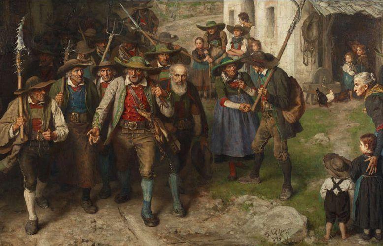 Franz von Defregger, Das Letzte Aufgebot, Detail, 1874, Öl auf Leinwand, 139 x 191 cm (Wien, Belvedere © Belvedere, Wien, Foto: Johannes Stoll)