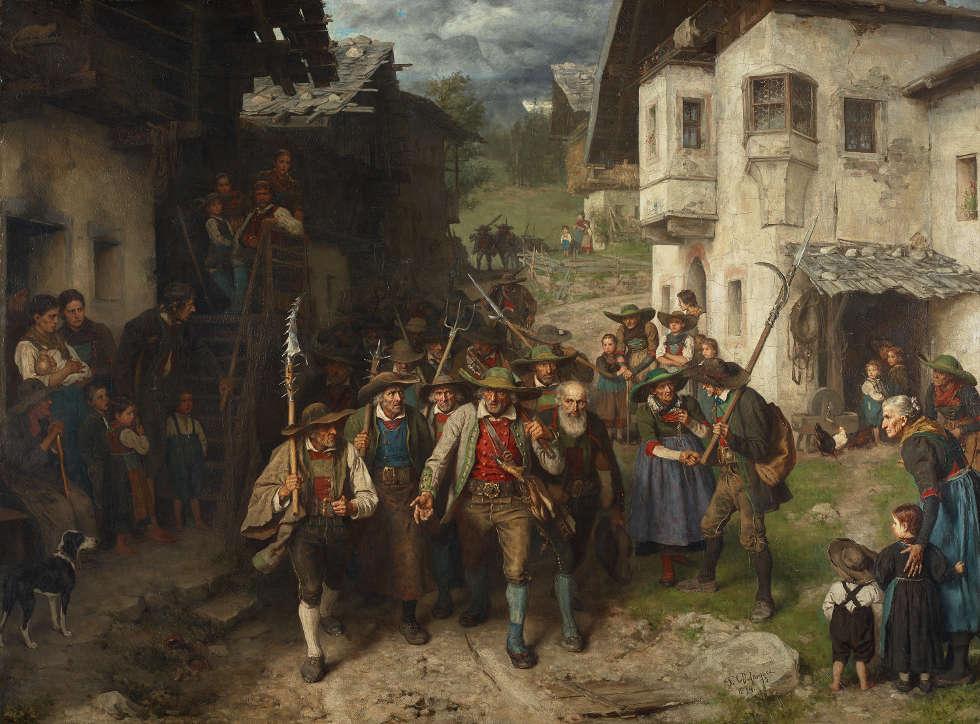 Franz von Defregger, Das Letzte Aufgebot, 1874, Öl auf Leinwand, 139 x 191 cm (Wien, Belvedere © Belvedere, Wien, Foto: Johannes Stoll)