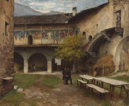 Franz von Defregger, Hof der Burg Runkelstein, 1880, Öl auf Leinwand, 80,5 x 97,3 cm (Privatbesitz © Tiroler Landesmuseen)