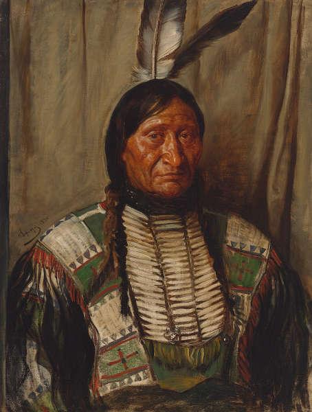 Franz von Defregger, Porträt Rocky Bear, 1890, Öl auf Leinwand, 90 x 70 cm (Privatbesitz © Tiroler Landesmuseen)