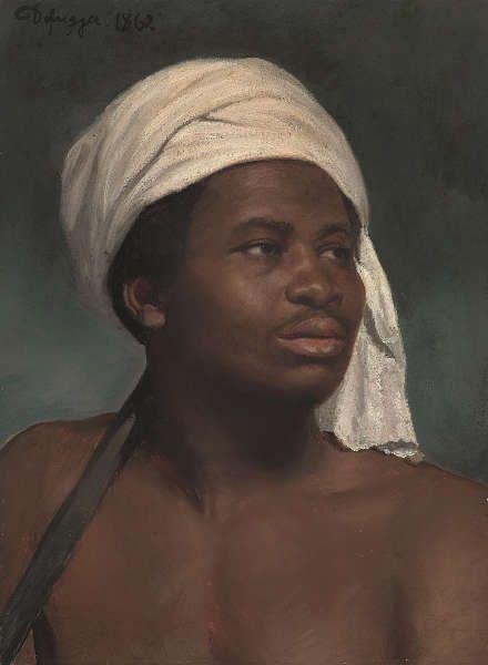 Franz von Defregger, Porträt eines Afrikaners mit weißem Kopftuch, 1862, Öl auf Papier, aufgezogen auf Karton, 53 x 39 cm (Privatbesitz, © Tiroler Landesmuseen)