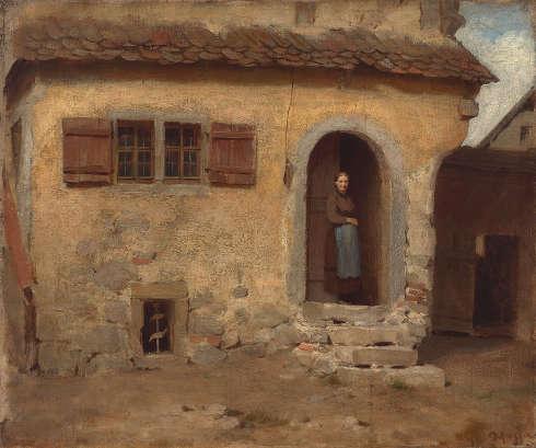 Franz von Defregger, Rothenburger Fassade, um 1868, Öl auf Leinwand, 51,2 x 61,6 cm (Privatbesitz © Tiroler Landesmuseen)