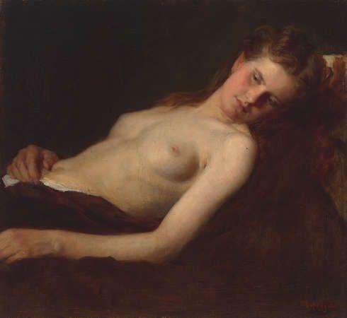 Franz von Defregger, Ruhender weiblicher Halbakt, um 1890, Öl auf Leinwand, 48 x 52,5 cm, Privatbesitz © Tiroler Landesmuseen)