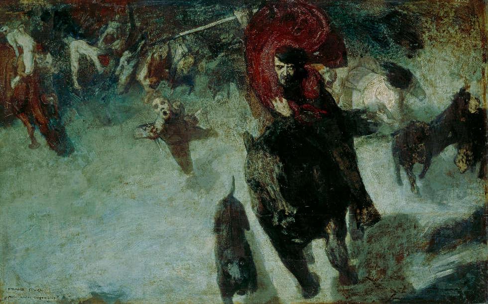 Franz von Stuck, Die Wilde Jagd, um 1888 (Städtische Galerie im Lenbachhaus und Kunstbau München, Foto: Lenbachhaus)