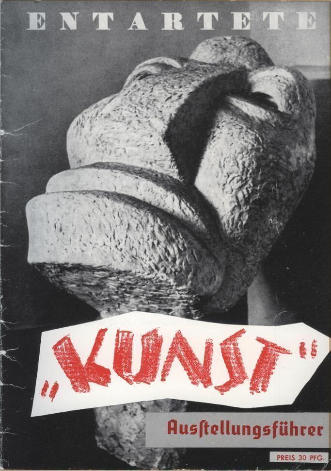 """Otto Freundlich, Großer Kopf (""""Der neue Mensch""""), Cover des Ausstellungsführers zu Entartete Kunst, 1937."""