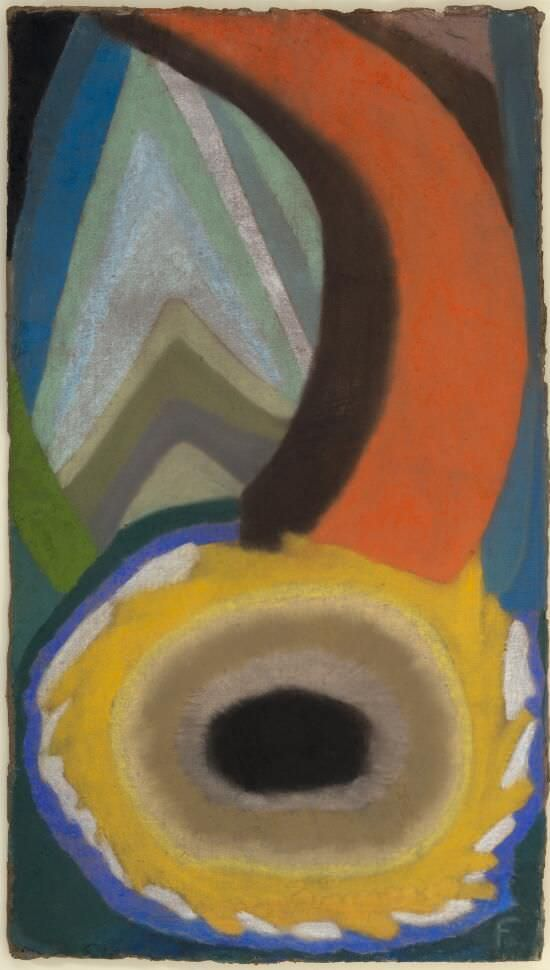 Otto Freundlich, Komposition, 1921, Pastellkreide auf Pappe, 77,5 x 44,2 cm (Berlinische Galerie, Berlin), Foto: Kai-Annet Becker/ Berlinische Galerie, Landesmuseum für Moderne Kunst, Fotografie und Architektur